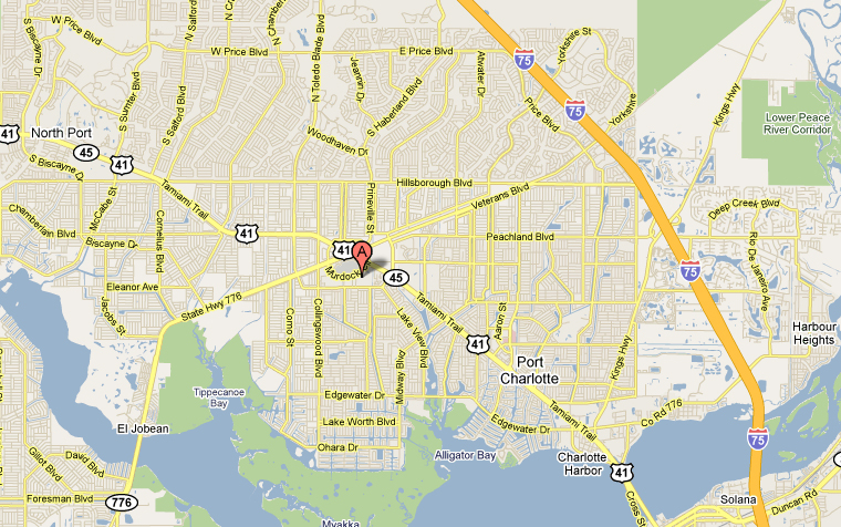 Map to University Surgical Associates USA in Port Charlotte, Florida